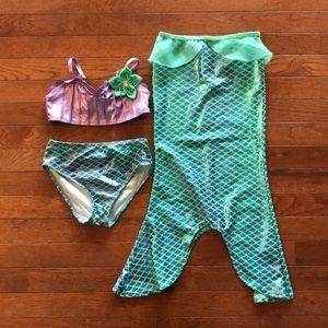 Disney Little Mermaid 3Piece Swim Set Bikini/skirt
